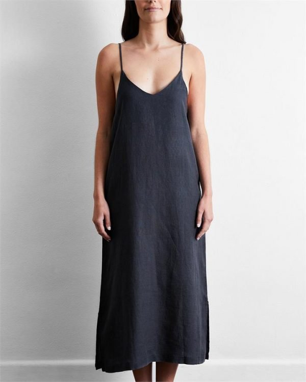 100% French Flax Linen Midi Dress in Charcoal - Bed Threads