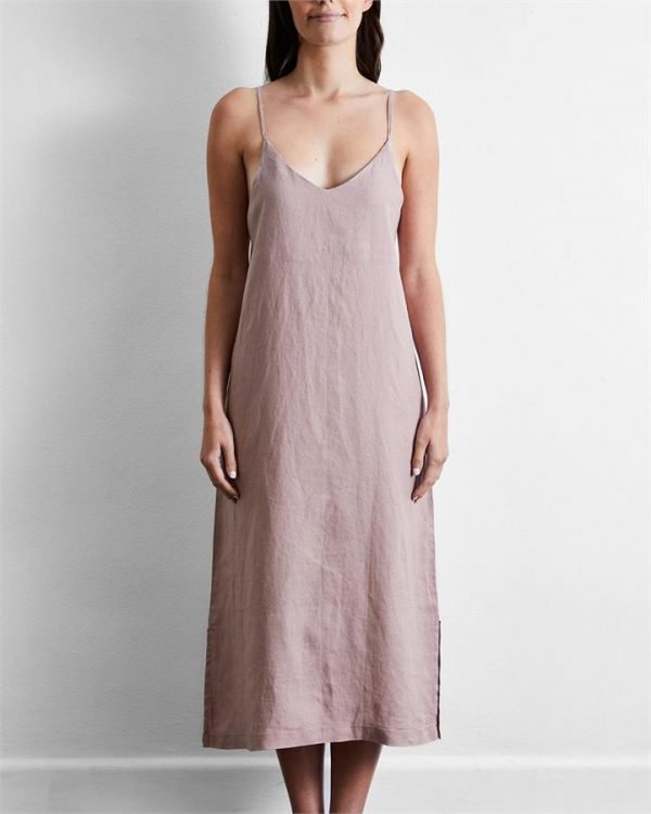 100% French Flax Linen Midi Dress in Lavender - Bed Threads