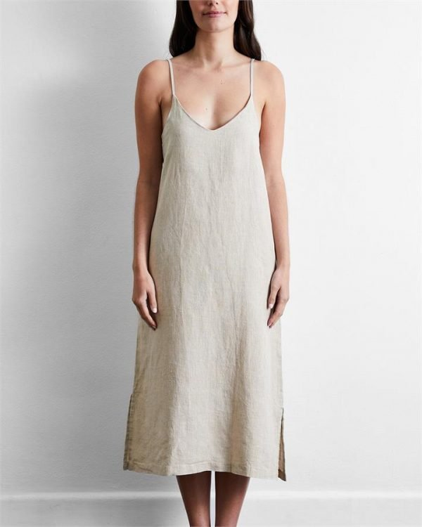 100% French Flax Linen Midi Dress in Oatmeal - Bed Threads