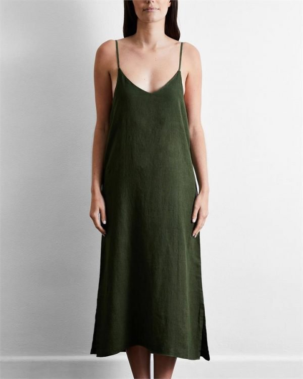 100% French Flax Linen Midi Dress in Olive - Bed Threads