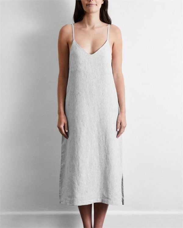 100% French Flax Linen Midi Dress in Pinstripe - Bed Threads