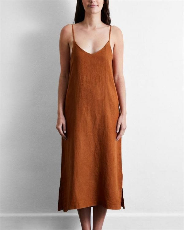 100% French Flax Linen Midi Dress in Rust - Bed Threads