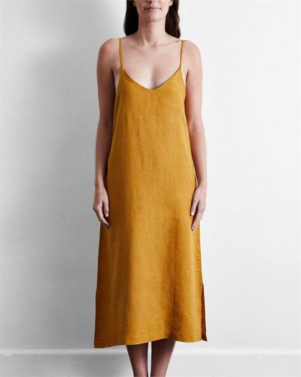 100% French Flax Linen Midi Dress in Turmeric - Bed Threads