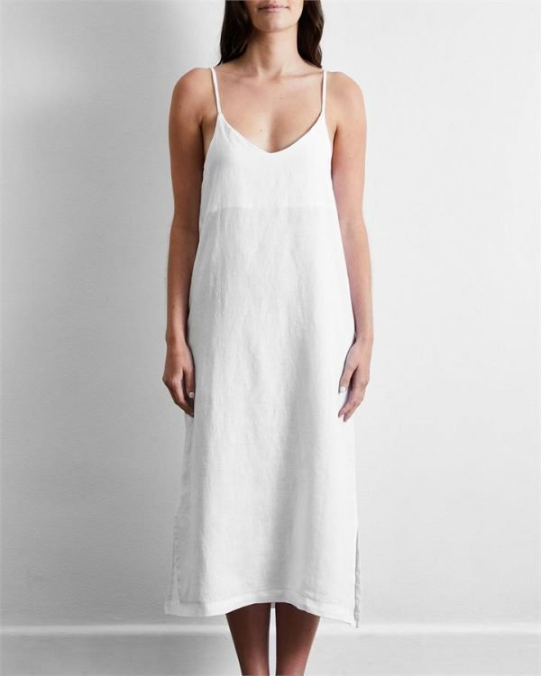 100% French Flax Linen Midi Dress in White - Bed Threads