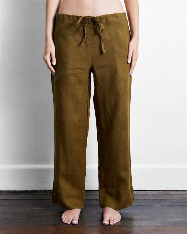 100% French Flax Linen Pants in Khaki - Bed Threads