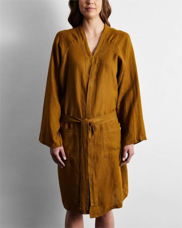 100% French Flax Linen Robe in Khaki - Bed Threads