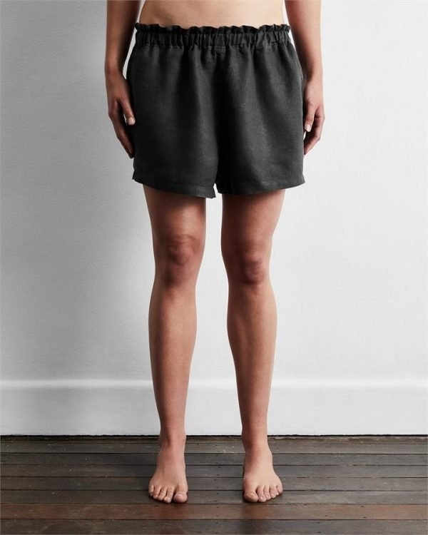 100% French Flax Linen Shorts in Charcoal - Bed Threads