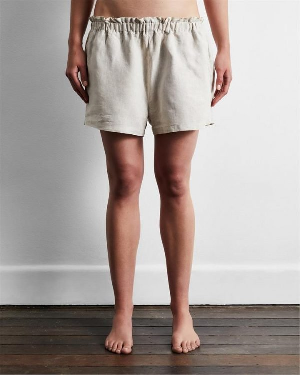 100% French Flax Linen Shorts in Oatmeal - Bed Threads