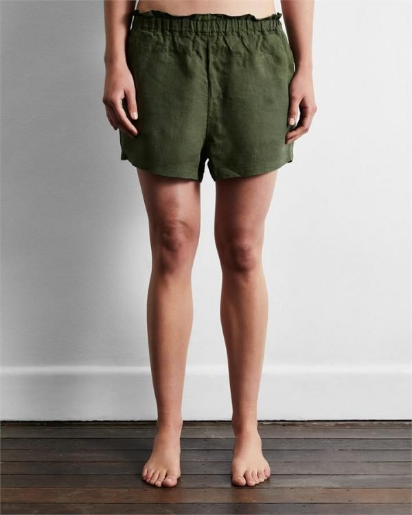 100% French Flax Linen Shorts in Olive - Bed Threads
