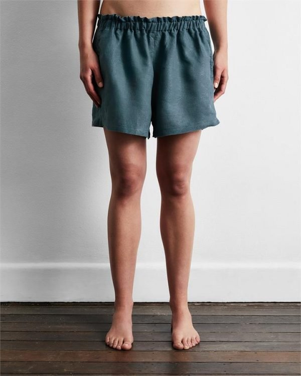100% French Flax Linen Shorts in Petrol - Bed Threads