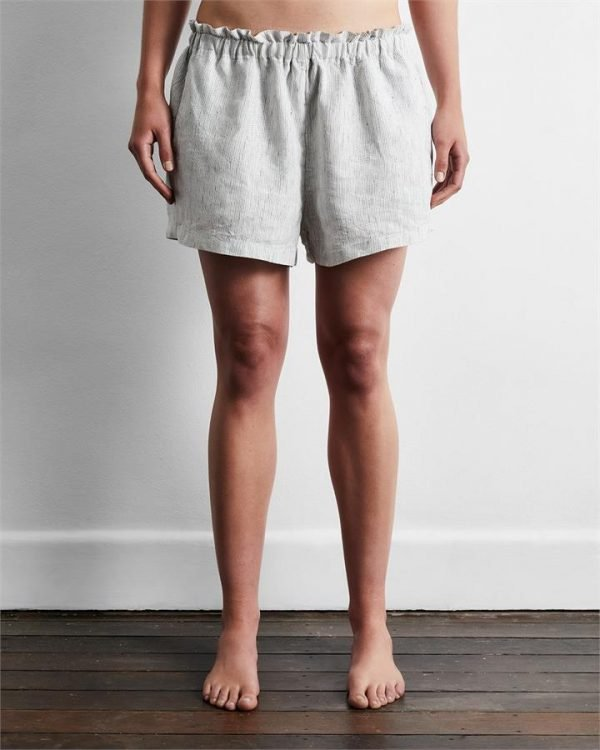 100% French Flax Linen Shorts in Pinstripe - Bed Threads