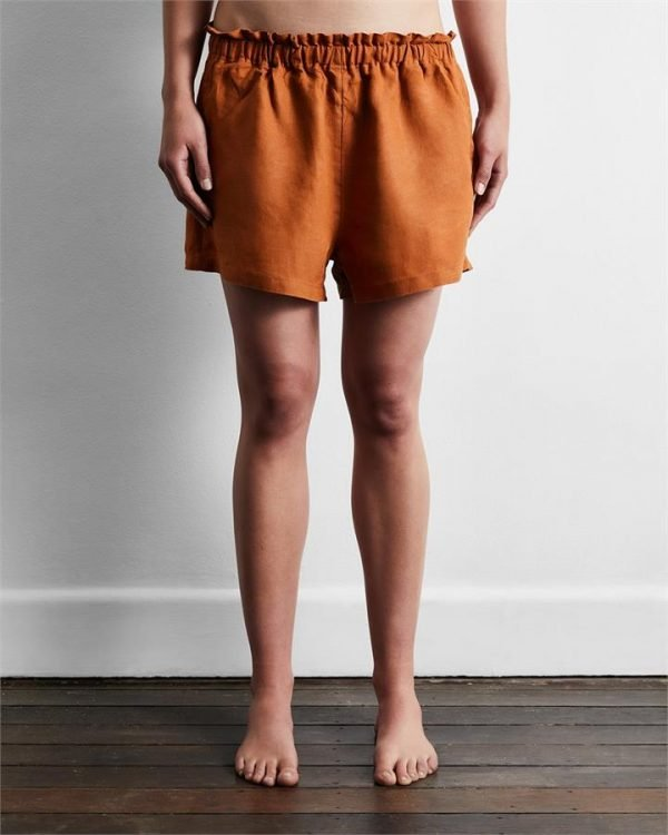 100% French Flax Linen Shorts in Rust - Bed Threads