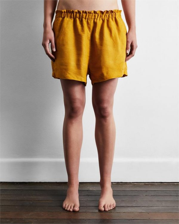 100% French Flax Linen Shorts in Turmeric - Bed Threads