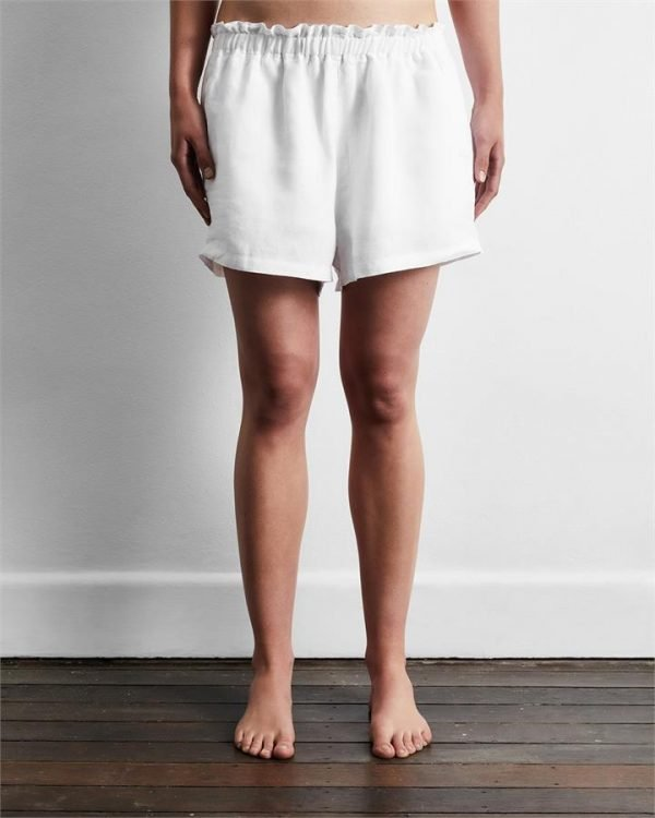 100% French Flax Linen Shorts in White - Bed Threads