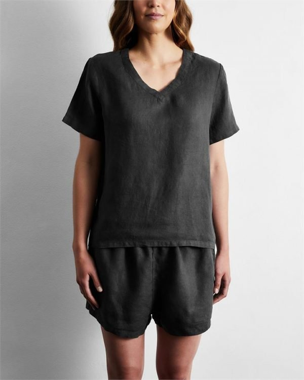 100% French Flax Linen T-Shirt in Charcoal - Bed Threads