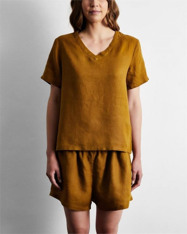 100% French Flax Linen T-Shirt in Khaki - Bed Threads