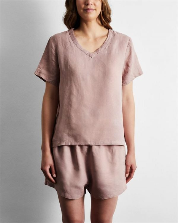 100% French Flax Linen T-Shirt in Lavender - Bed Threads