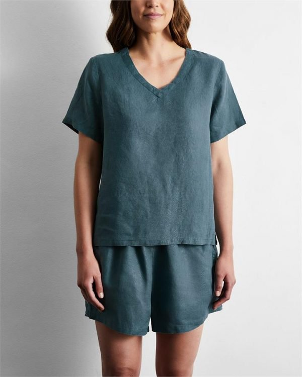100% French Flax Linen T-Shirt in Petrol - Bed Threads