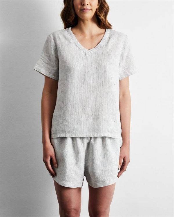 100% French Flax Linen T-Shirt in Pinstripe - Bed Threads