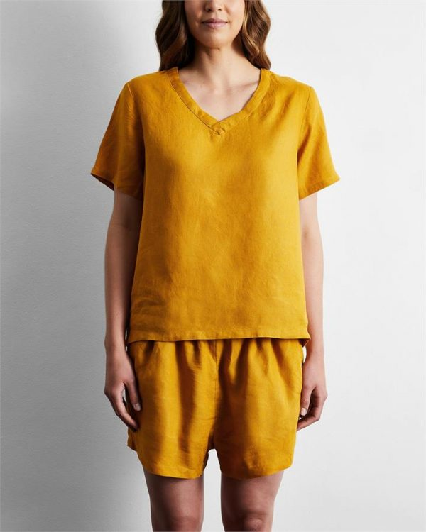 100% French Flax Linen T-Shirt in Turmeric - Bed Threads