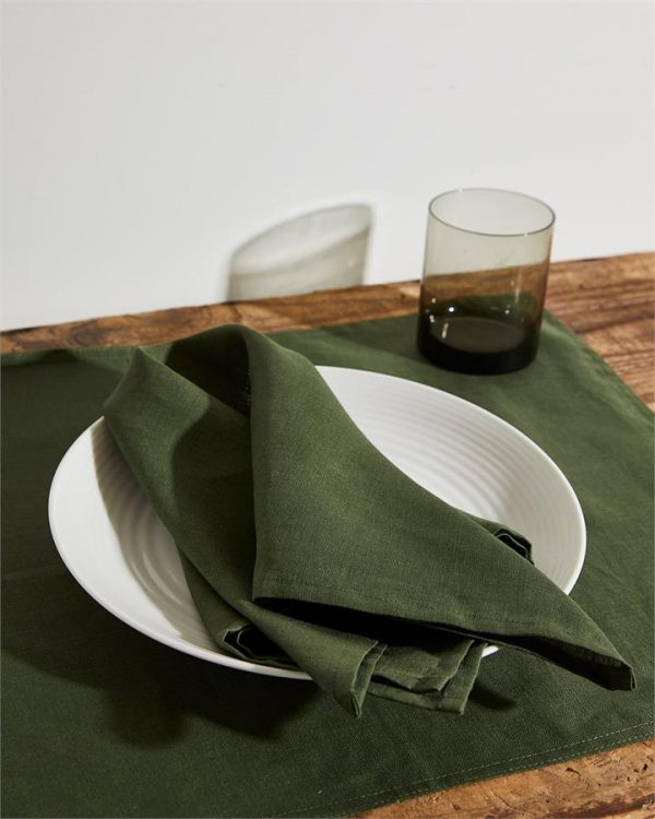 100% Linen Napkins in Olive (Set of Four) - Bed Threads