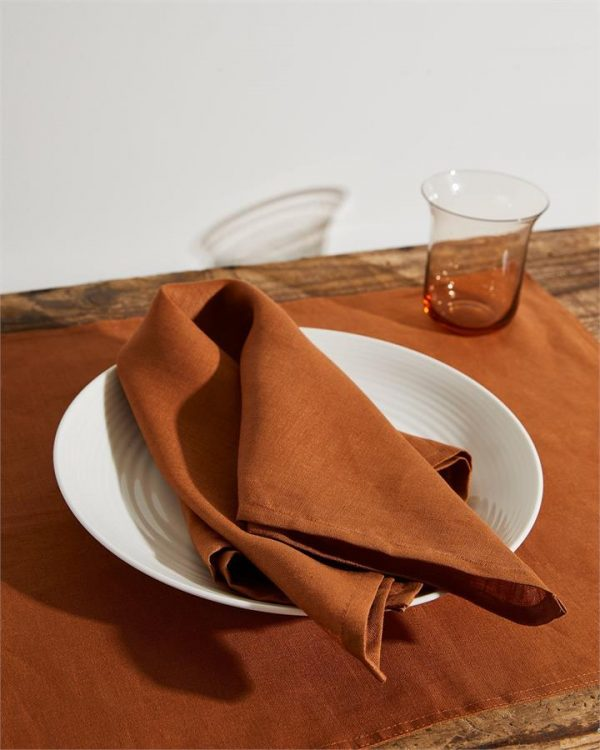 100% Linen Napkins in Rust (Set of Four) - Bed Threads