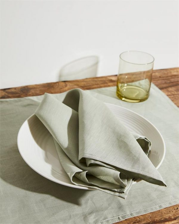 100% Linen Napkins in Sage (Set of Four) - Bed Threads