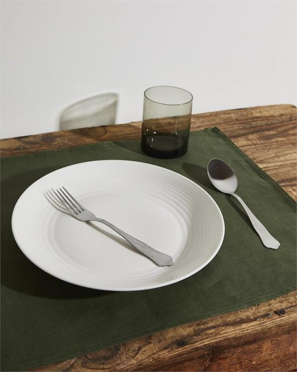 100% Linen Placemats in Olive (Set of Four) - Bed Threads
