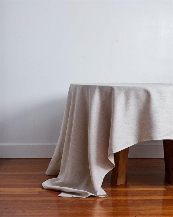 100% Linen Tablecloth in Oatmeal - Bed Threads
