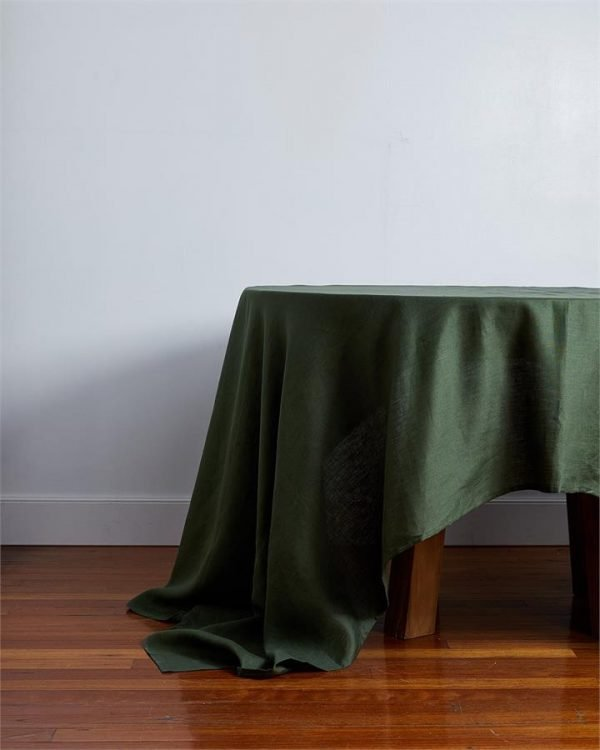 100% Linen Tablecloth in Olive - Bed Threads