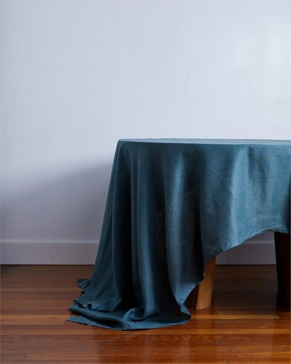 100% Linen Tablecloth in Petrol - Bed Threads