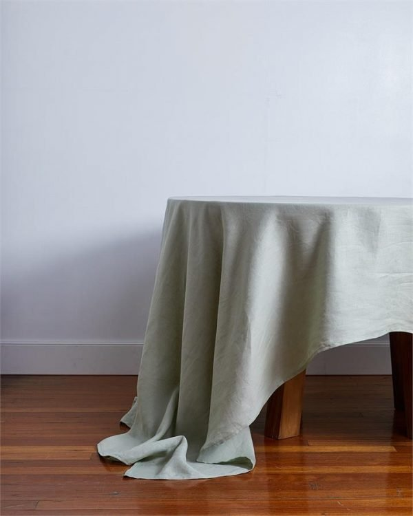 100% Linen Tablecloth in Sage - Bed Threads