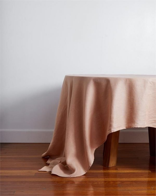 100% Linen Tablecloth in Terracotta - Bed Threads