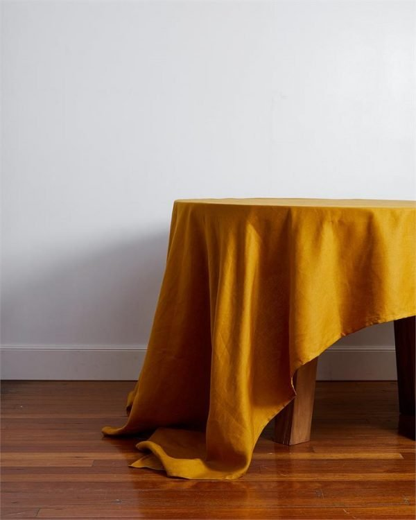 100% Linen Tablecloth in Turmeric - Bed Threads