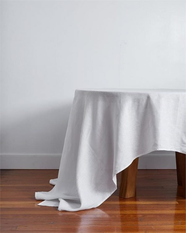 100% Linen Tablecloth in White - Bed Threads