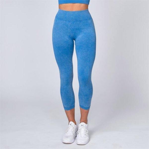 Acid Wash Seamless High Waist 7/8 Leggings - Blue - XL