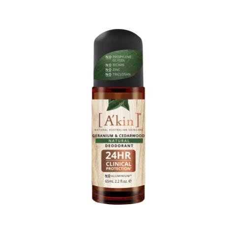 A'kin Geranium & Cedarwood Roll-On Deodorant 65mL