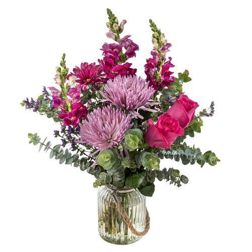 Anastasia - Pink & Mauve Bouquet in a Hurricane Vase