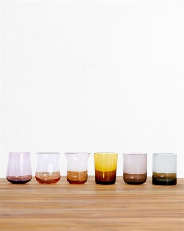 Bitossi Home Glass Tumblers in Amber/Pink (Set of 6) - Bed Threads