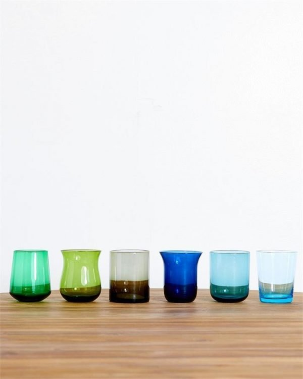 Bitossi Home Glass Tumblers in Blue/Green (Set of 6) - Bed Threads