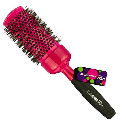 Brushworx Rio Pink Ceramic Hot Tube Hair Brush - Pink
