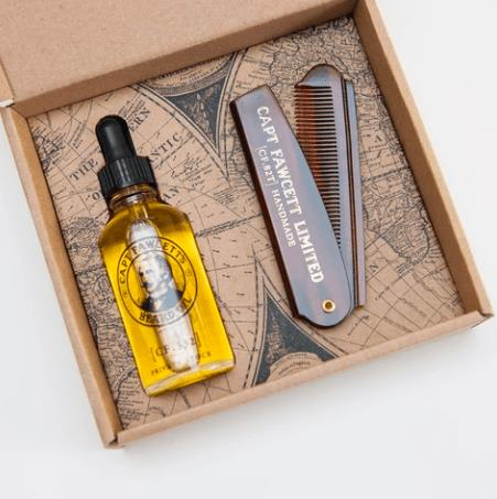 Captain Fawcett's Private Stock Beard Oil and Folding Pocket Beard Comb Gift Set