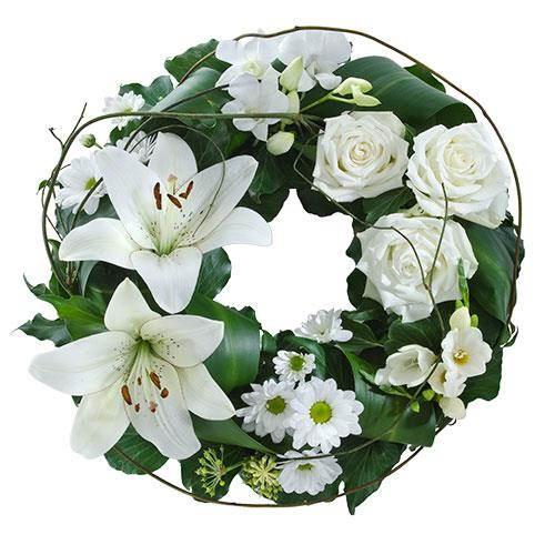 Comforting Embrace - Mixed White Floral Wreath