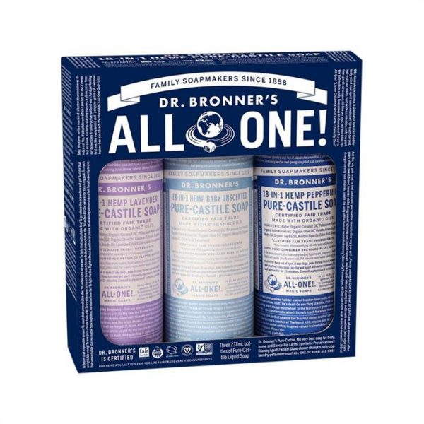 Dr. Bronner's Pure-Castile Soap Liquid Cosmic Classics 237ml x 3 Pack (Baby, Lavender & Peppermint)