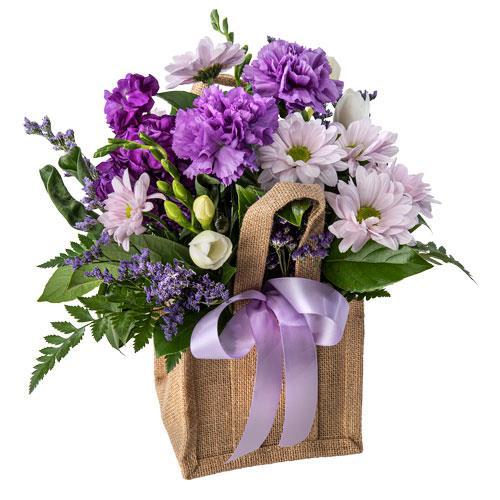 Enchanted - Mixed Purple Arrangement in a Hessian Bag