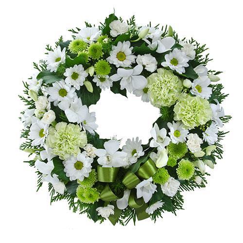 Eternity - White & Green Cluster Wreath