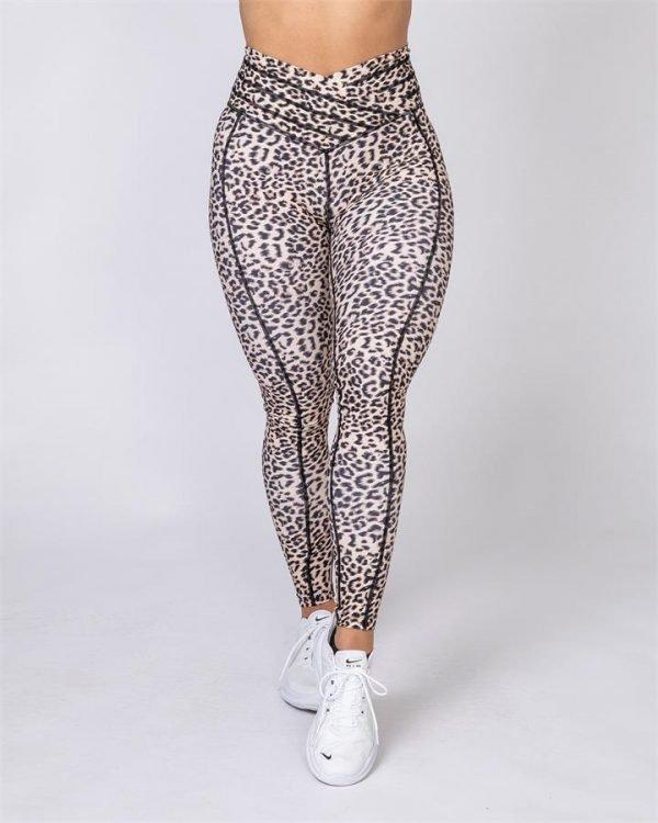Full Length V Wrap Leggings - Yellow Leopard - L