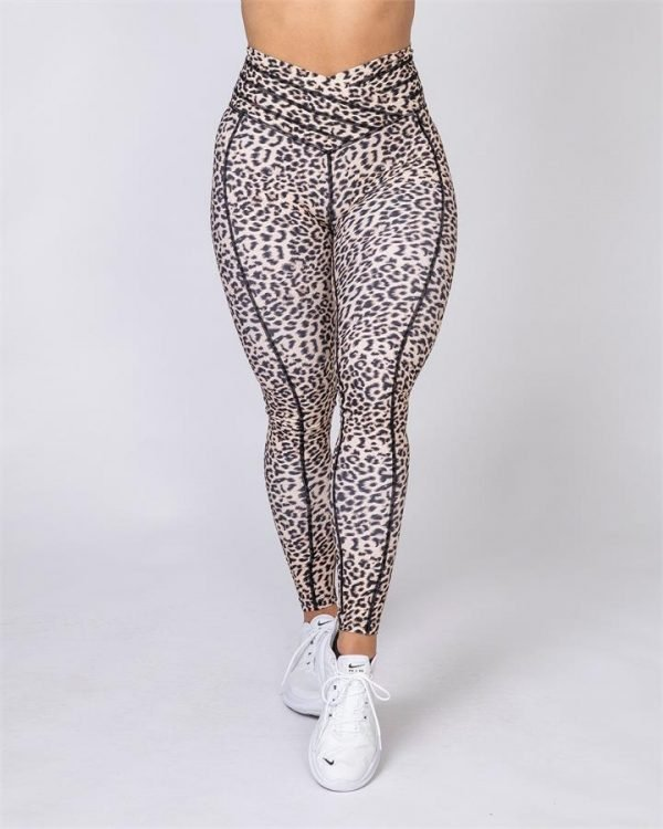 Full Length V Wrap Leggings - Yellow Leopard - XL