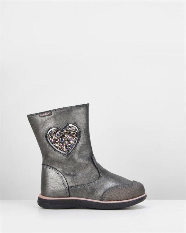 Heart Glitter Boot 0206 Yth Pewter