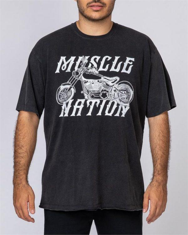 Mens Oversized Vintage Tee - Motorbike - S